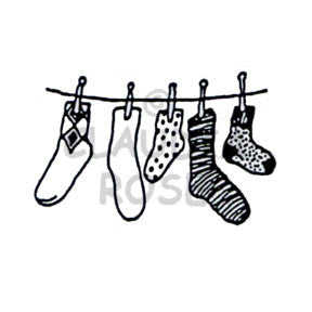 Claudia Rose | CR494E - Socks on the Line - Rubber Art Stamp