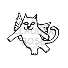 Angel Cat Rubber Art Stamp