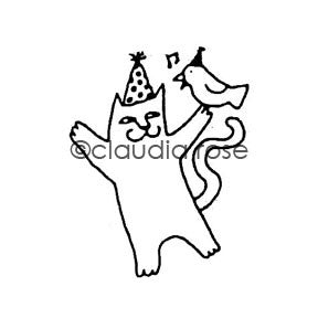 Claudia Rose | CR541E - Party Cat - Rubber Art Stamp