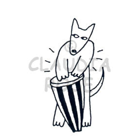 Conga Drum Dog - CR547E - Rubber Art Stamp