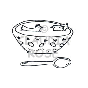 Chicken Soup and Spoon - CR571G - Rubber Art Stamp