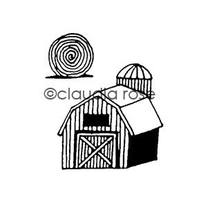 Claudia Rose | CR582G - Barn w/ Hay Bale End Mount - Rubber Art Stamp