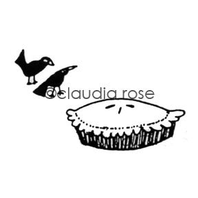 Claudia Rose | CR585F - Pie w/ Blackbirds End Mount - Rubber Art Stamp