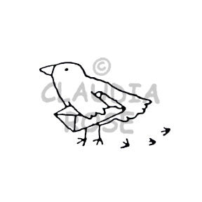 Claudia Rose | CR607E - Bird w/ Letter - Rubber Art Stamp
