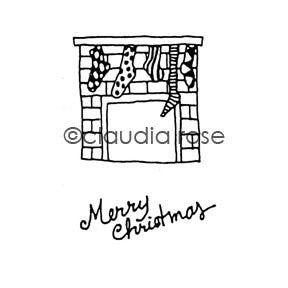 Claudia Rose | CR817G - Merry Christmas Mantle w/ End Stamp - Rubber Art Stamp