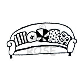 Cushioned Couch - CR906E - Rubber Art Stamp