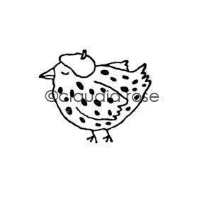 Claudia Rose | CR923C - French Hen - Rubber Art Stamp