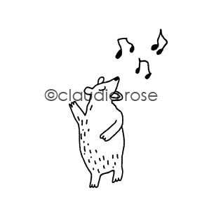 Claudia Rose | CR940G - Singing Bear w/ Notes End-Mount - Rubber Art Stamp