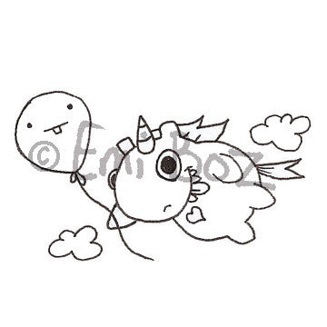 Emi Boz | EB5375F - Chubbles Flying High - Rubber Art Stamp