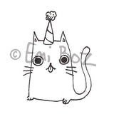 Emi Boz | EB5376E - Party Hat Cat - Rubber Art Stamp