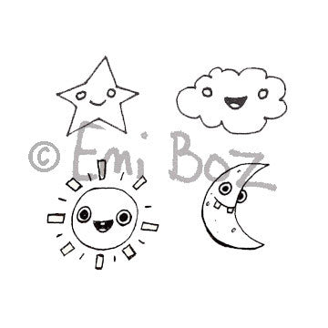 Emi's Cosmic Cube - EB5378G - Rubber Art Stamp