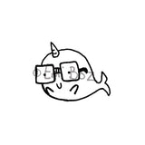 Emi Boz | EB7108D - Nerdy Narwhal - Rubber Art Stamp