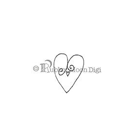 Curly Love Heart - EG133DG - Digi Stamp