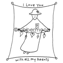 Effie Glitzfinger | EG5551G - All My Hearts - Rubber Art Stamp