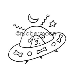 Doggy Spaceship - EG5557D- Rubber Art Stamp