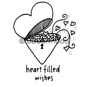 Effie Glitzfinger | EG5560E - Heart Filled Wishes - Rubber Art Stamp