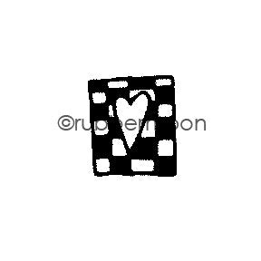 Small Checkerboard w/Tiny Heart - EG5562AA - Rubber Art Stamp