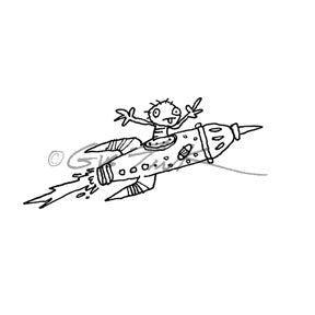 Gus Fink | GF7135H - Space Traveler - Rubber Art Stamp