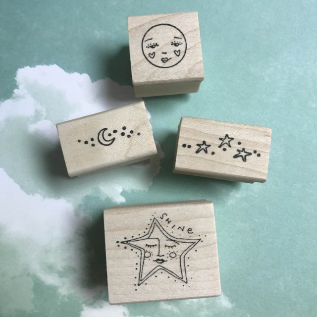 Star Shine and Sweet Cheeks | SSH01 | Rubber Art Stamps (Set of 4)