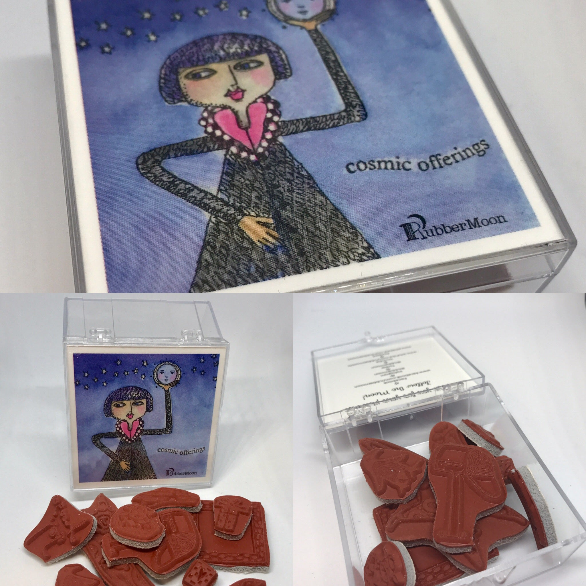 RubberMoon | Grab Box of Cling Rubber Art Stamps - Variety