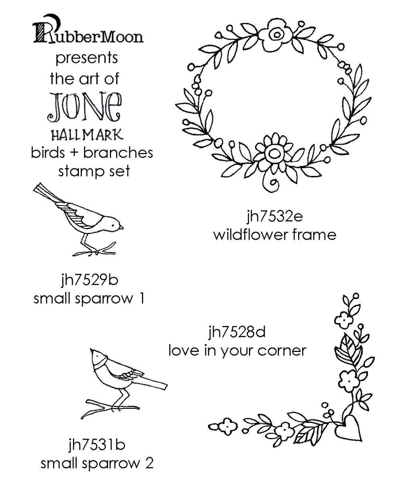 Jone Hallmark | JH04BB - Birds & Branches Stamp Set - Rubber Art Stamps