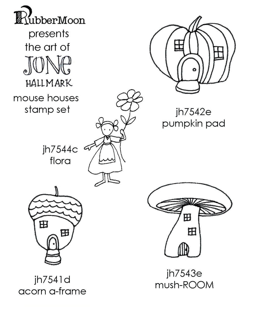 Jone Hallmark | JH04MH - Mouse Houses Stamp Set - Rubber Art Stamps