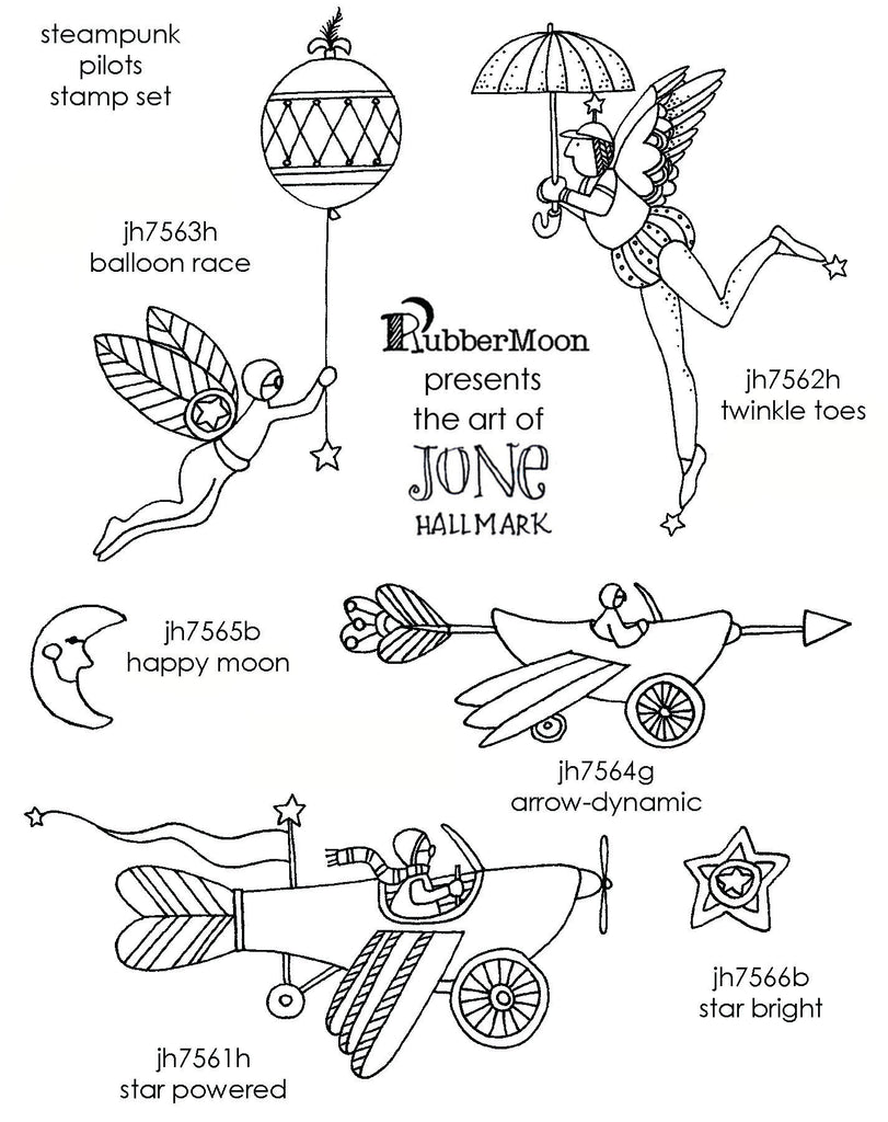 Jone Hallmark | JH06SP - Steampunk Pilots Stamp Set - Rubber Art Stamps
