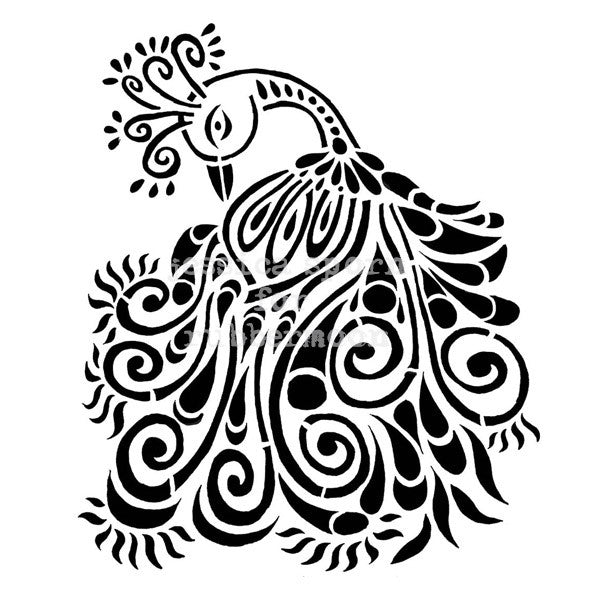 PEACOCK MOTIF - JS5250I - Rubber Art Stamp
