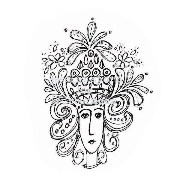 Jessica Sporn | JS5381H - Whimsy Crown - Rubber Art Stamp