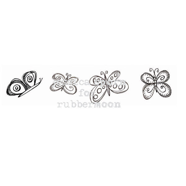 Whimsy Butterflies Cube - JS5383K - Rubber Art Stamp