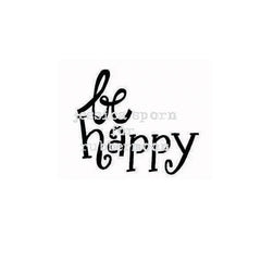 Be Happy - JS5385D - Rubber Art Stamp