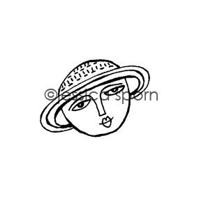 Build-A-Cosmos | Saturn Girl - JS5446E - Rubber Art Stamp