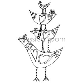 Jessica Sporn | JS7073K - Flock Together - Rubber Art Stamp