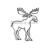 Jessica Sporn | JS7080F - Small Moose - Rubber Art Stamp