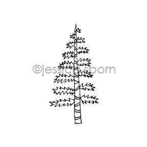 Jessica Sporn | JS7085E - Tiny Piney - Rubber Art Stamp
