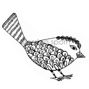 Jessica Sporn | JS7104I - Swirly Sparrow - Rubber Art Stamp