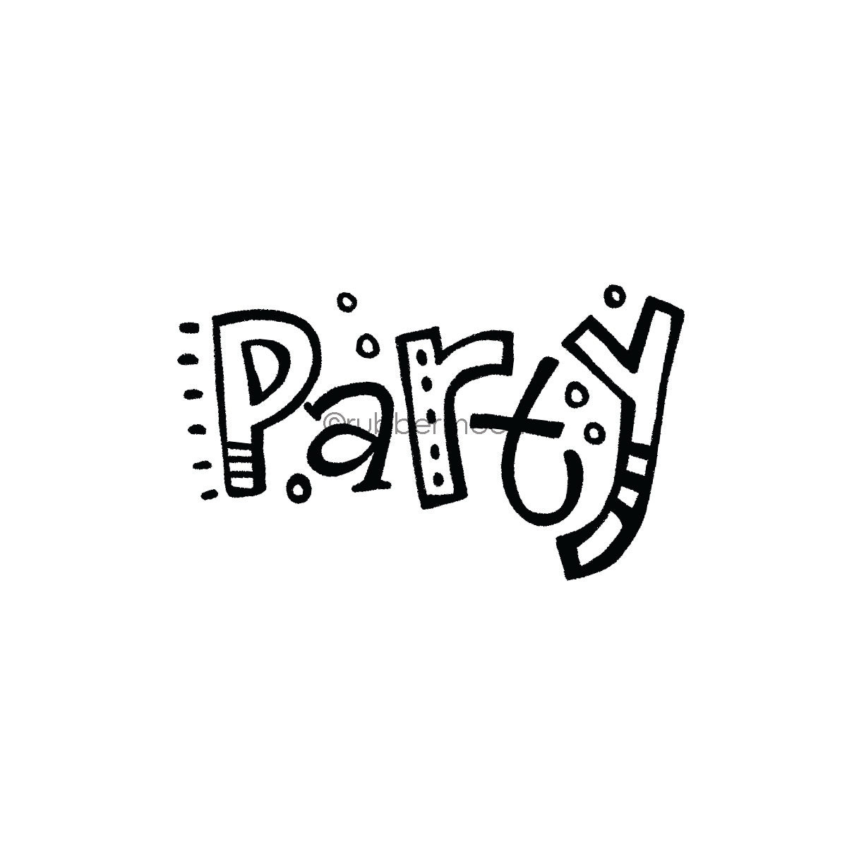 "Kim Geiser | KG7416F - ""Party"" - Rubber Art Stamp"