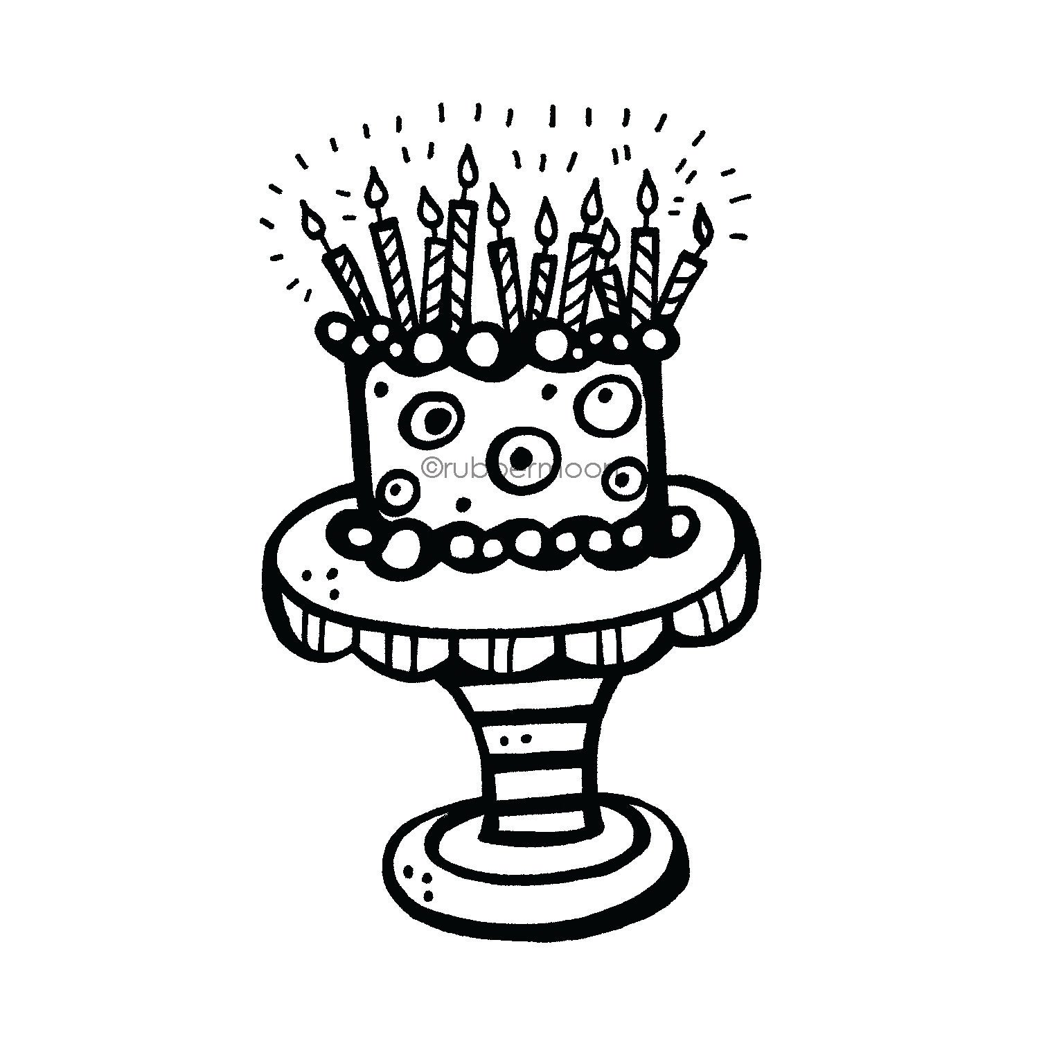 Kim Geiser | KG7420J - Birthday Cake - Rubber Art Stamp