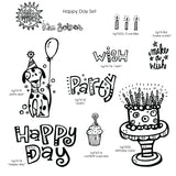 Kim Geiser | KGHD08 - Happy Day Set - Rubber Art Stamps