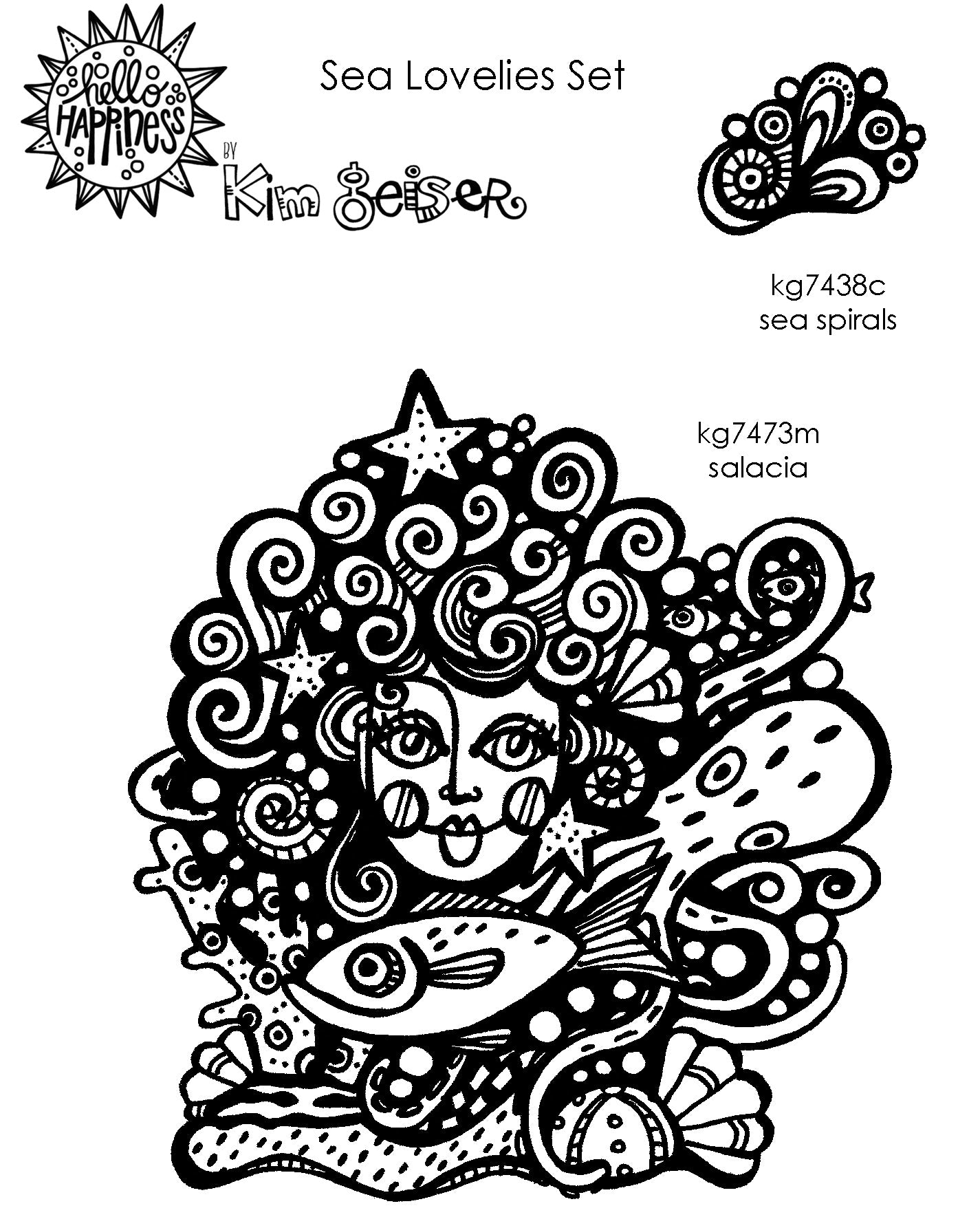 Kim Geiser | KGSL02 - Sea Lovelies Set - Rubber Art Stamps