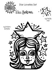 Kim Geiser | KGSL02 - Star Lovelies Set - Rubber Art Stamps