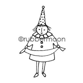 Dot the Party Girl - KP5403E - Rubber Art Stamp