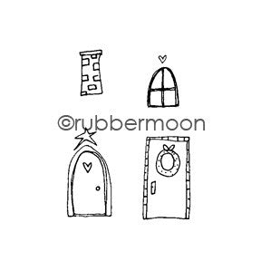 Holiday Doors Cube - KP5471G - Rubber Art Stamp