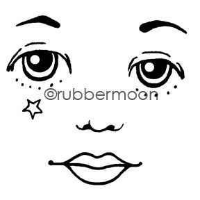 Kae Pea | KP5480I - Starry Eyed Face (large) - Rubber Art Stamp