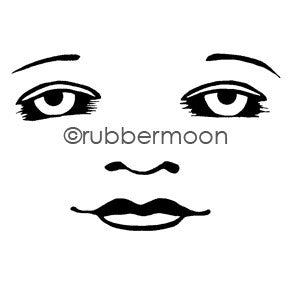 Kae Pea | KP5482I - Waxing Moon Face (large) - Rubber Art Stamp
