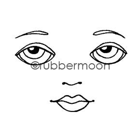 Kae Pea | KP5483F - Waning Moon Face (small) - Rubber Art Stamp