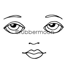 Kae Pea | KP5484I - Waning Moon Face (large) - Rubber Art Stamp