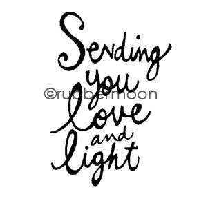 "Kae Pea | KP5495E - ""Sending You Love and Light"" - Rubber Art Stamp"