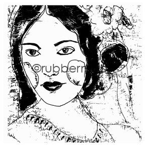Kae Pea | KP5608J - Painted Lady - Rubber Art Stamp