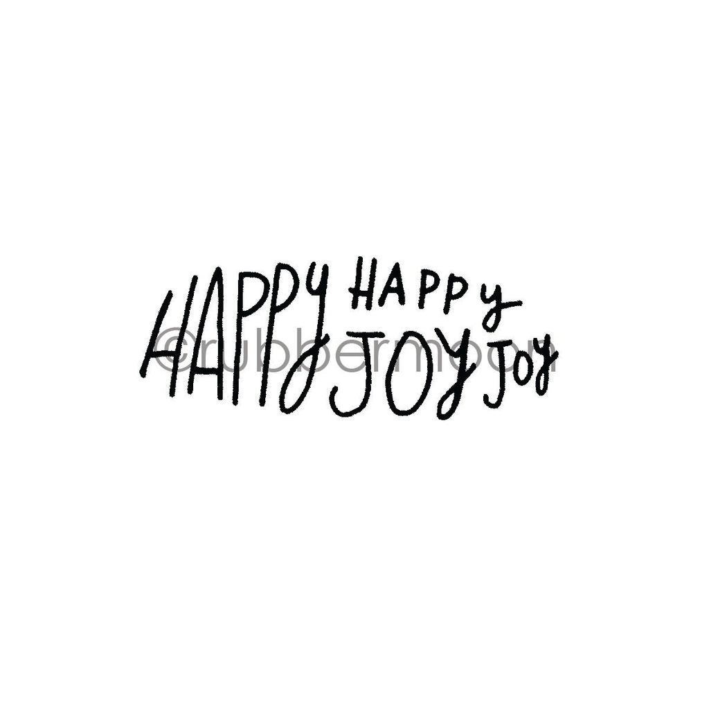 "Kae Pea | KP7273F - ""Happy, Joy"" - Rubber Art Stamp"